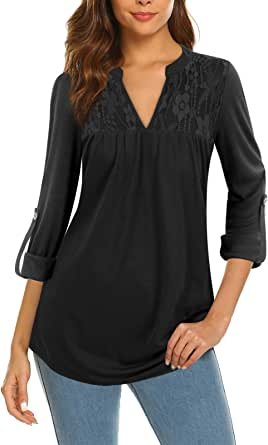 Siddhe Womens Tunic Tops V-Neck Lace 3/4 Roll Sleeve Blouses Shirt for Leggings