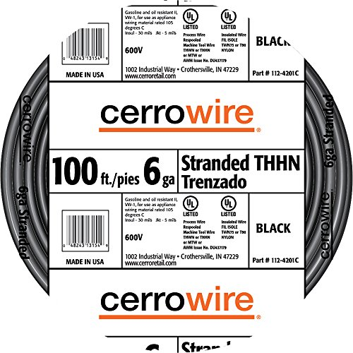 Cerrowire 112-4201C 100-Feet 6-Gauge Stranded THHN Black Wire