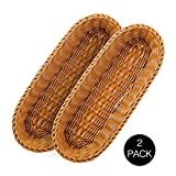 14.5' Poly-Wicker Bread Basket, Long Woven Tabletop Food Serving Basket, Honey Brown - Set of 2