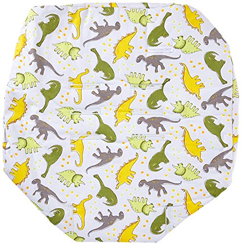 Minha Casa Baby Capa de Bebê com Estampa Dinossauro, Cinza/Amarelo/Verde