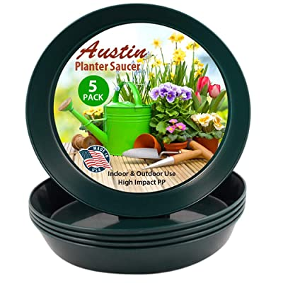 16 inch Case of 5 Austin Planter Hunter Green Polypropylene for Indoor and Outdoor Plant use, Made in USA, Flower Pot Saucer, Planter Drainage Saucer(14.25 inch Base Dia.): Garden & Outdoor