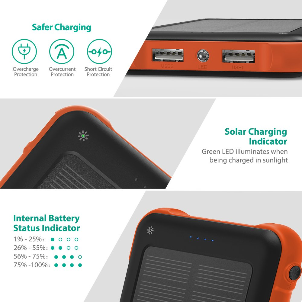 Solar Charger Ravpower 10000mah Outdoor Battery Pack With Overcharge Protection Electronic Ismart 20 And Dual Input Outlet Shockproof Power Bank Led