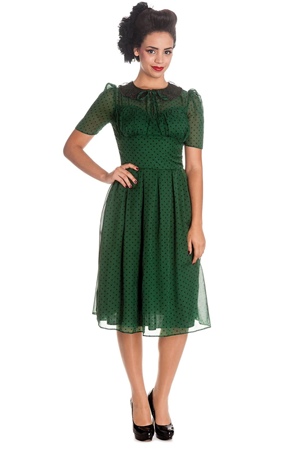 Vintage Tea Dresses, Floral Tea Dresses, Tea Length Dresses Small- Hell Bunny Womens 40s 50s Vintage Cynthia Polka Dot Chiffon Dress $69.00 AT vintagedancer.com