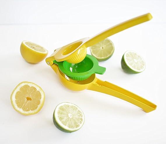 Exprimidor de limones | Premium calidad Metal amarillo limón exprimidor | exprimidor manual exprimidor prensa para limas y naranjas no pulpa o semillas de ...