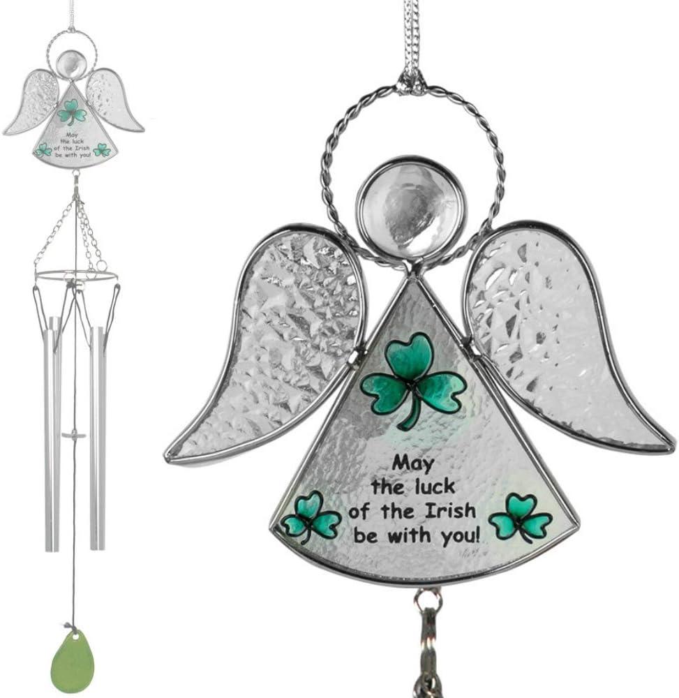 BANBERRY DESIGNS Irlandés ángel carillón de Viento Vidriera con Shamrock y Campanas