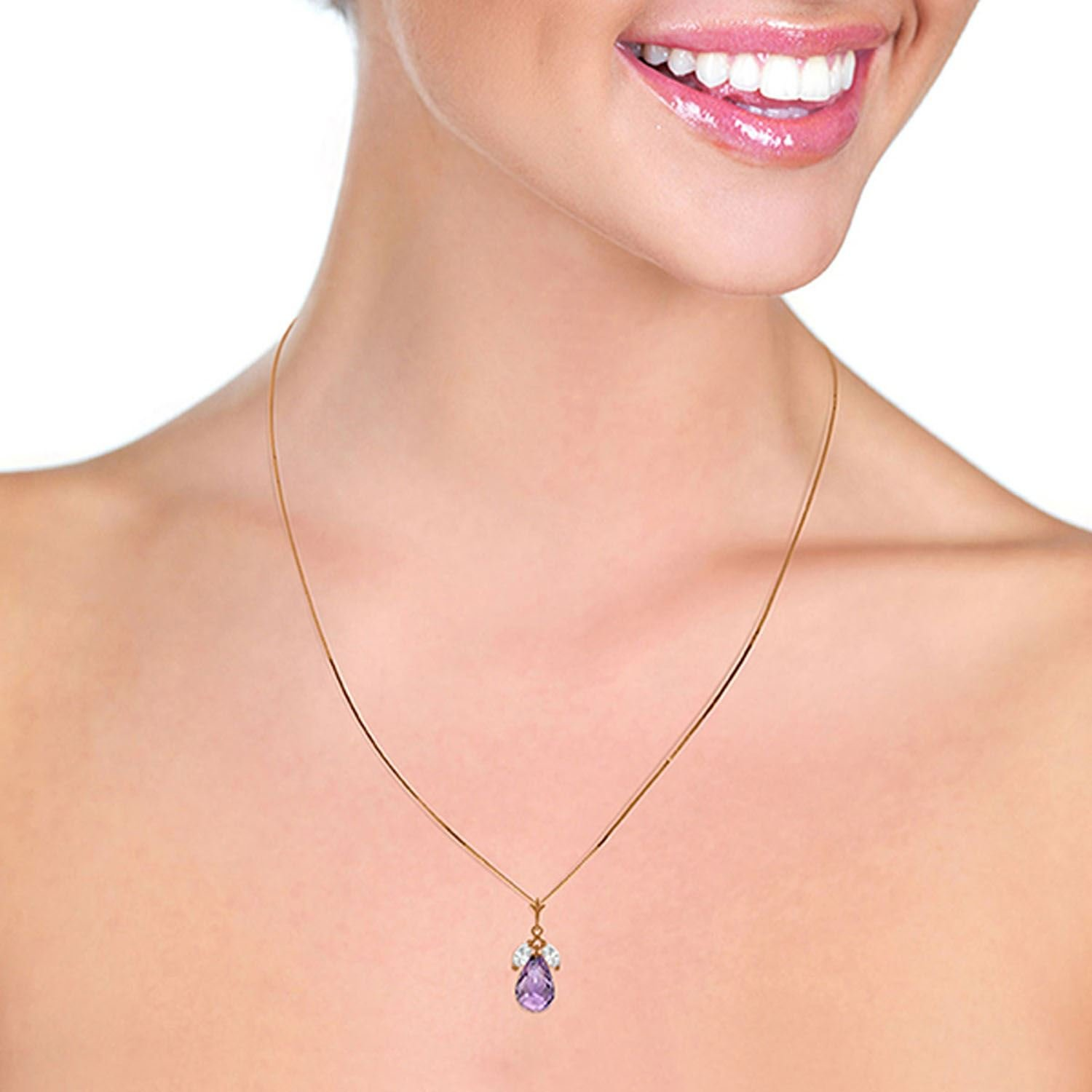 ALARRI 14K Solid Rose Gold Necklace w// Purple Amethysts /& Rose Topaz with 24 Inch Chain Length