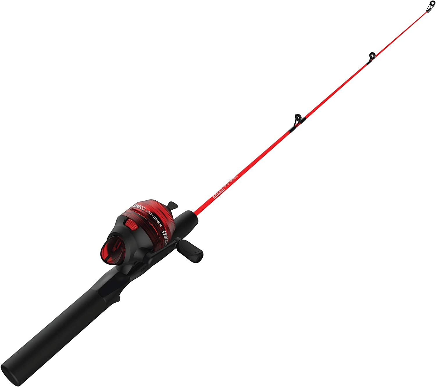 Zebco Dock Demon Spinning Reel or Spincast Reel and Fishing Rod Combo, 30-Inch Durable Fiberglass Rod, QuickSet Anti-Reverse Fishing Reel