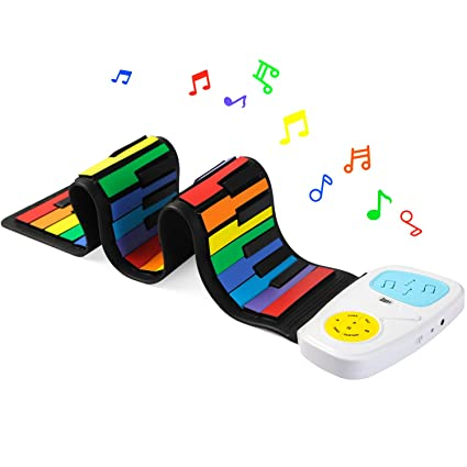 Lujex Rainbow Roll Up Piano,Portable Foldable Standard 49 Keys Flexible Soft Silicone Electronic Music