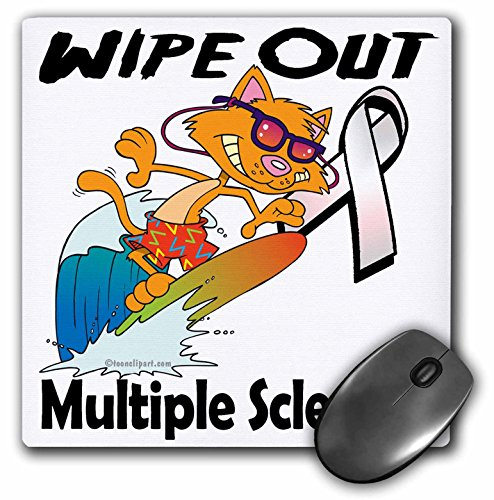 3dRose 8 X 8 X 0.25 Wipe Out Multiple Sclerosis Ms Awareness Ribbon Cause Design Mouse Pad -