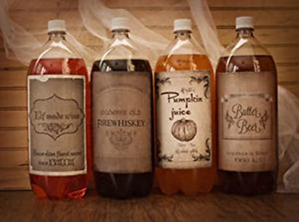 Amazon.com: Harry Potter Halloween Vino Soda etiquetas de ...