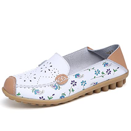 GilesJones Flats Women,Summer Round Toe Lace up Outdoor Loafers Ballet Shoes