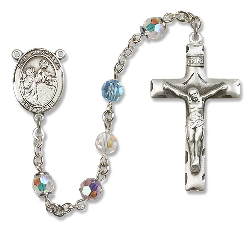 Nimatullah Center. Austrian Tin Cut Aurora Borealis Beads 6mm Swarovski St All Sterling Silver Rosary with Multi-Color