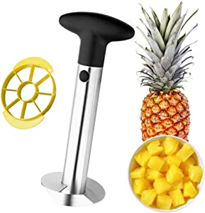 Yamesu Pineapple Corer Peeler Slicer Cutter, Stainless Steel Easy Kitchen Gadget Tool Fruit Pineapple Stem Remover and Wedger with free 8 Slices