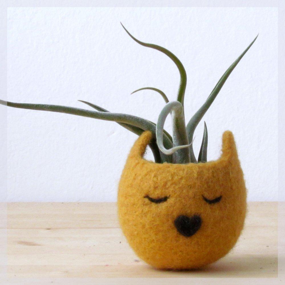 Animal planter/Cat head planter/Felt succulent planter/Mustard yellow planter