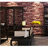 "53cm(20.8"") x 10m(393.7"") Red Brick Wallpaper Brick Vintage 3D Effect Natural Embossed Stack Stone Brick Tile Vinyl Wallpaper"
