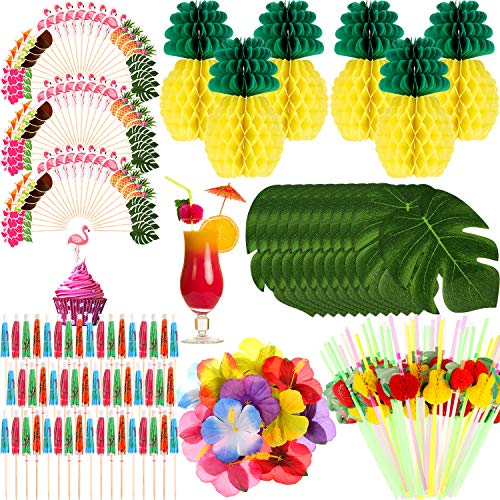 202 Pieces Hawaiian Decorations Set, Include 6 Paper Pineapples, 12 Palm Leaves, 12 Hibiscus Flowers, 72 Flamingo Cupcake Toppers, 50 Umbrella Picks and 50 Fruit Straws for Tropical Luau Party