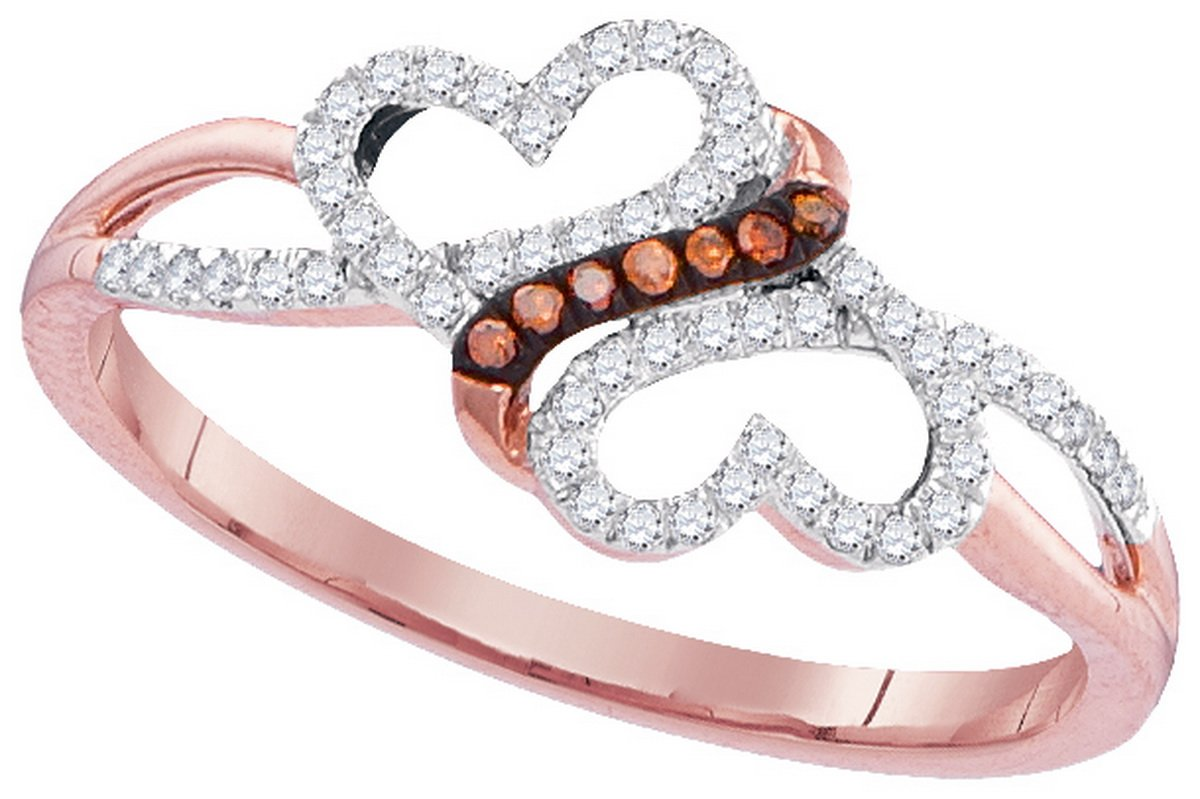 10kt Rose Gold Womens Round Red Colored Diamond Double Heart Love Ring 1/6 Cttw (I2-I3 clarity; Red color)