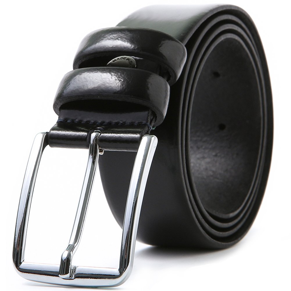 LUCHENGYI Cintura Uomo Vera Pelle Lucida Elegante per Completi da Uomo Nero 35MM Pacco Regalo