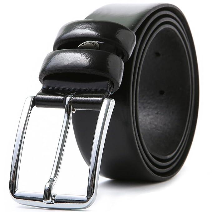 LUCHENGYI Cinturón Piel Negro Hombre 100% Cuero Charol Auténtico Hecho en  Italia Hebilla de Perno 35mm 115cm  Amazon.es  Ropa y accesorios 6bbf28060d96