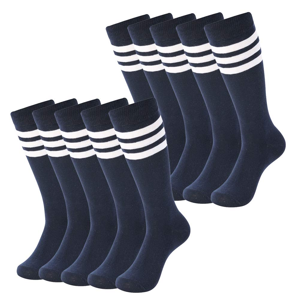 SUTTOS Unisex Mens Sport Football Team Socks Over Calf Volleyball Long Tube Socks Knee-High Compression Socks for School Team Group Sports Socks 10 Pairs-Navy+White Stripe by SUTTOS