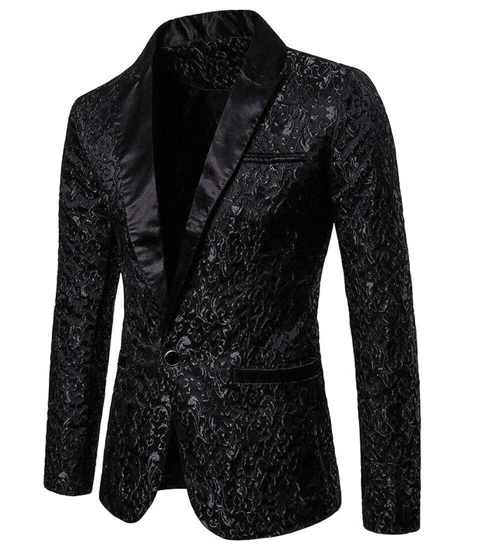WSPLYSPJY Mens Jacquard Button Down Lapel Solid Color Suit Blazer Jackets