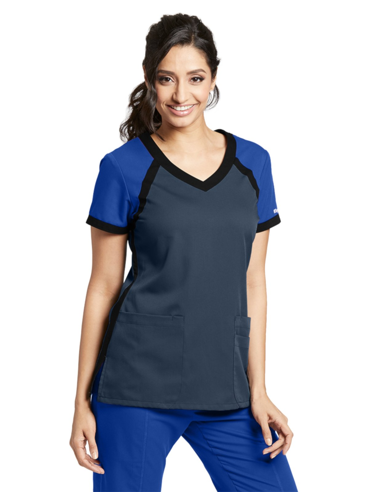 Grey's Anatomy Active 41435 Color Block V-Neck Top Steel/Galaxy/Black M
