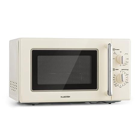 Klarstein Caroline Microondas - Microondas combi 2 en 1 con función grill , 20 litros , 700/1000 W de potencia , Ø 25,5cm , Diseño retro , Acero ...
