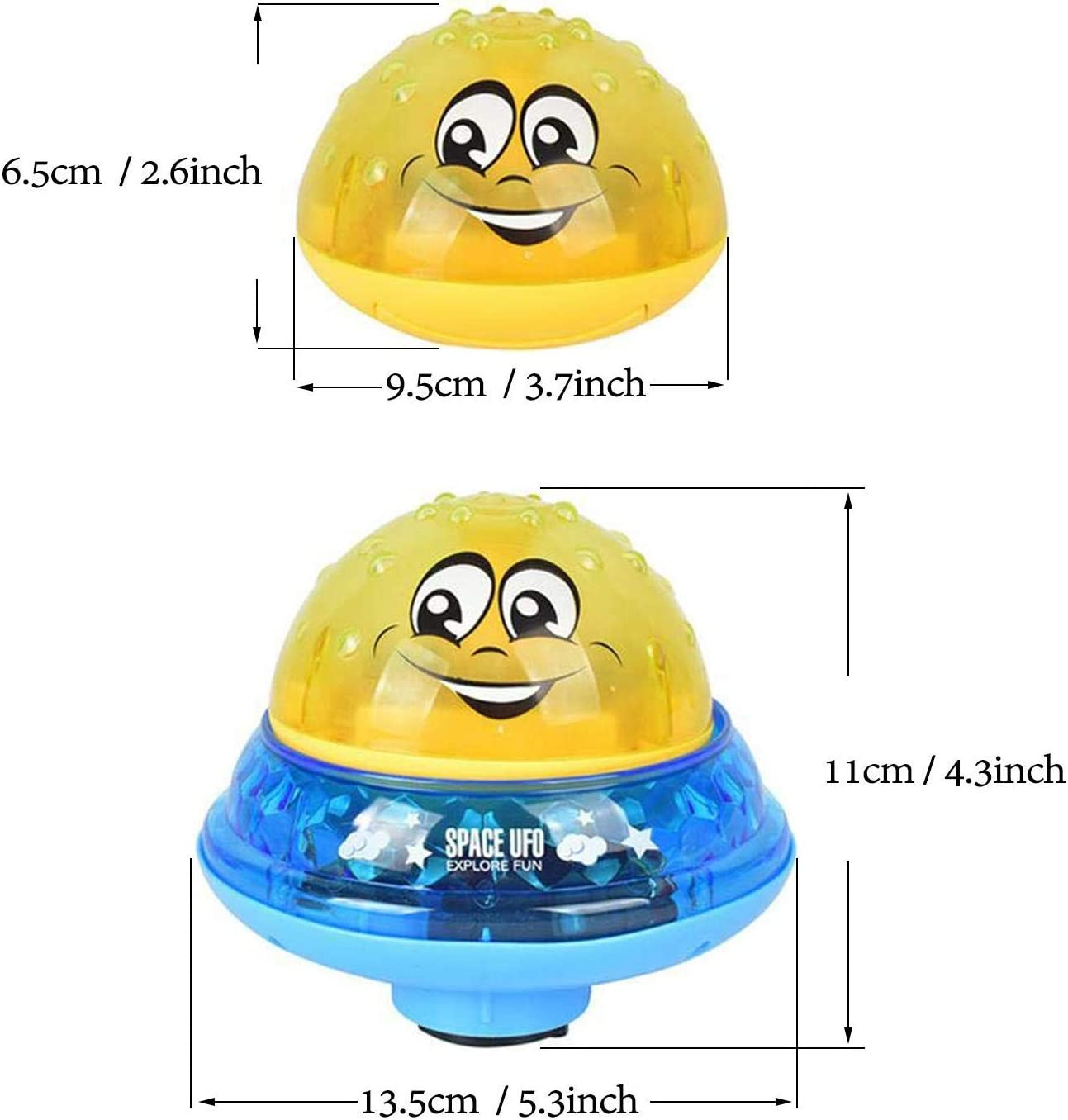 qingbao Bath Toys Bathroom Play Bath Spray Toys with Music /& Lamp Electric Automatic Induction Bathing Water Toy Yellow + Blue Base