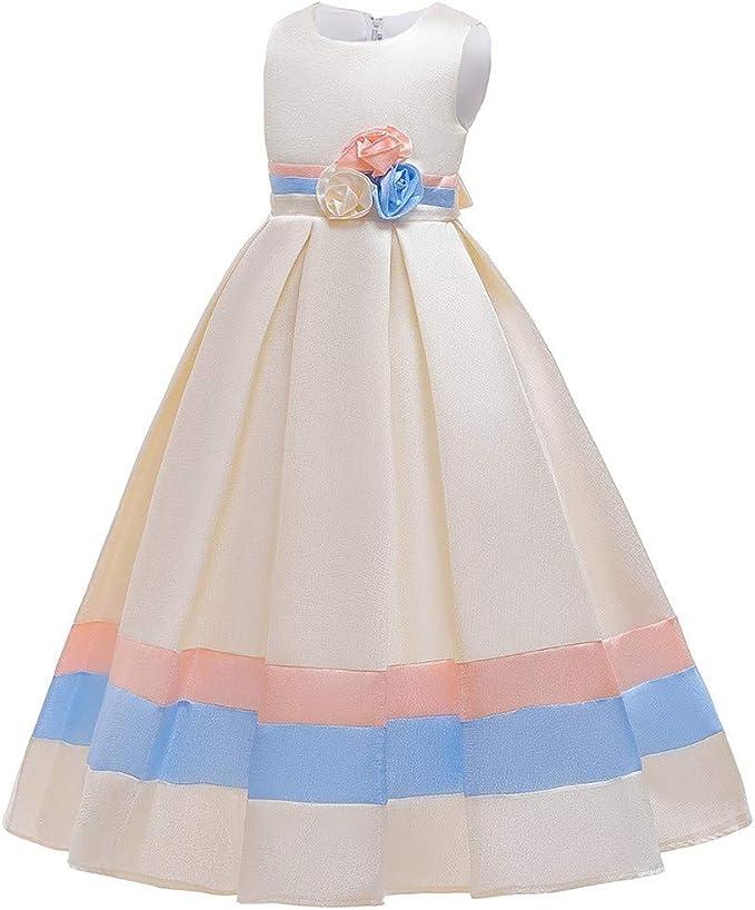 Riou M/ädchen Abendkleider Lang Elegant /Ärmellos T/üll Prinzessin Kleid f/ür Festlich Geburtstag Party Abend Hochzeit Brautjungfern BallKlleider