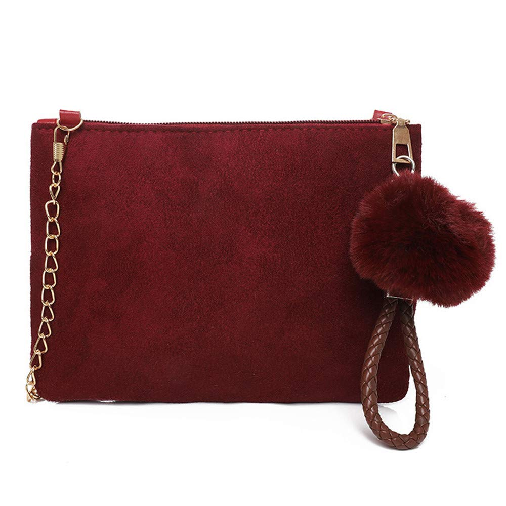 Clearance ❤ Women Bag JJLIKER Hairball Solid Color Suede Crossbody Clutch Bag