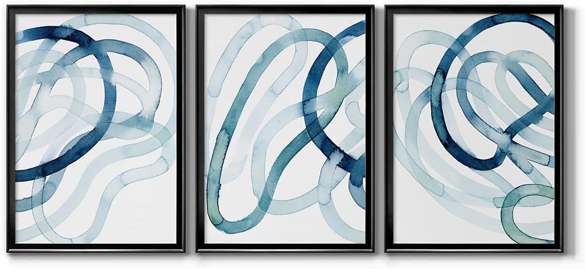 Wall Art, Home Décor, Rustic, Contemporary, Art Deco, Italian, Lazuli I Black Framed Canvas, 3 Piece Set, 22X30