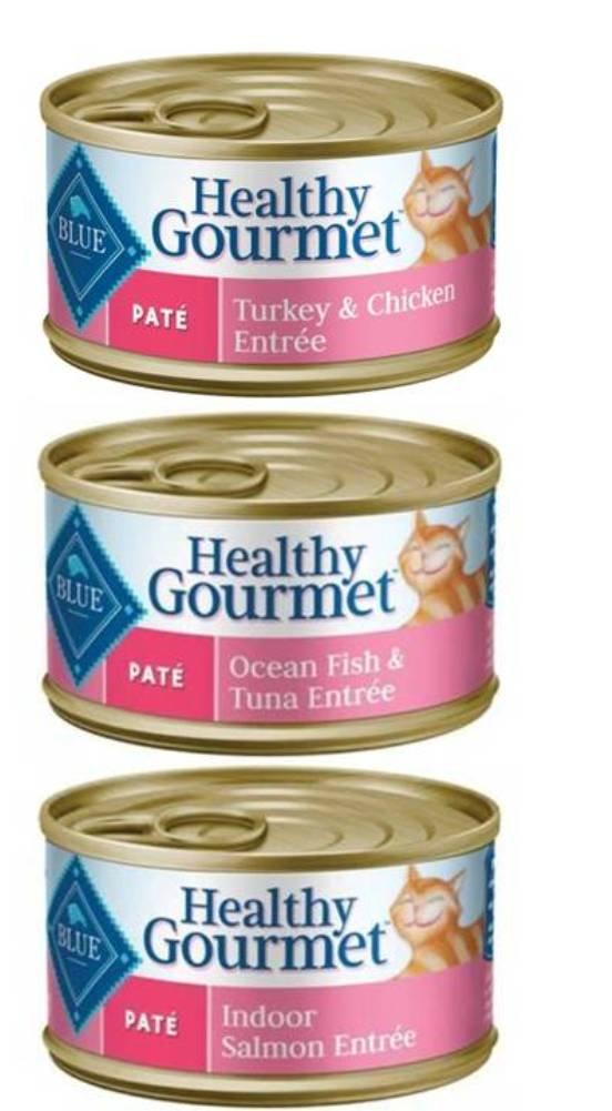 Blue Buffalo Healthy Gourmet Natural Cat Food Pate 3 Flavor Variety 6 Can Bundle: (2) Healthy Gourmet Ocean Fish/Tuna, (2) Healthy Gourmet Turkey/Chicken & (2) Healthy Gourmet Salmon, 3 Oz Ea (6 Tot) by Blue Buffalo