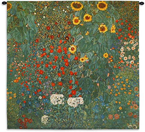 Farm Garden with Sunflowers by Gustav Klimt - Woven Tapestry Wall Art Hanging - Nature Mixed Sunflowers - 100% Cotton USA Size 53x53