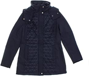 Marc New York by Andrew Marc Womens Quilted Hooded Jacket (X-Large, Navy
