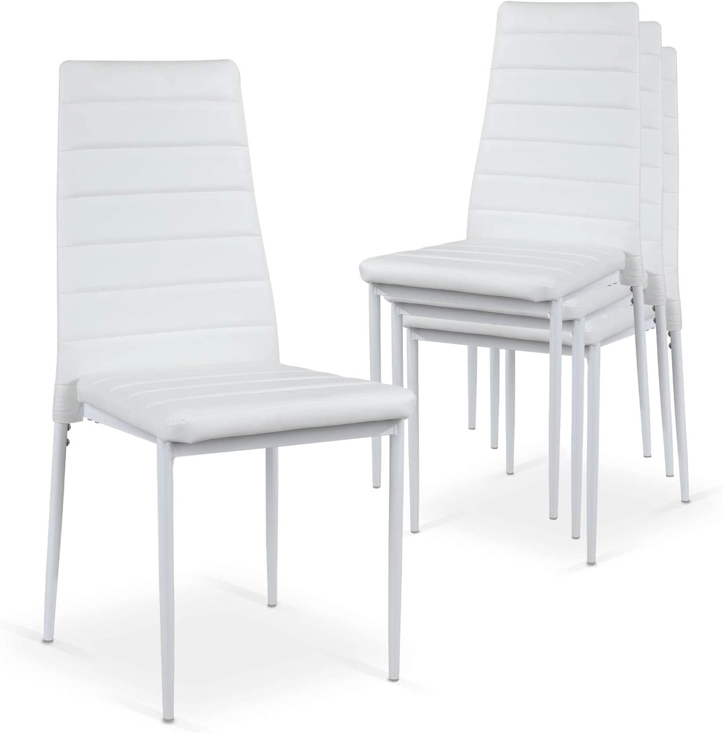 INTENSEDECO Lot de 4 chaises Strip empilables Blanc: Amazon