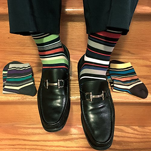 YourFeet Men's 12 Pack Thin Cotton Colorful Stripe Argyle Designed Business Dress Socks Gift Size 9-12 (Assorted-2) by KONY (Image #3)