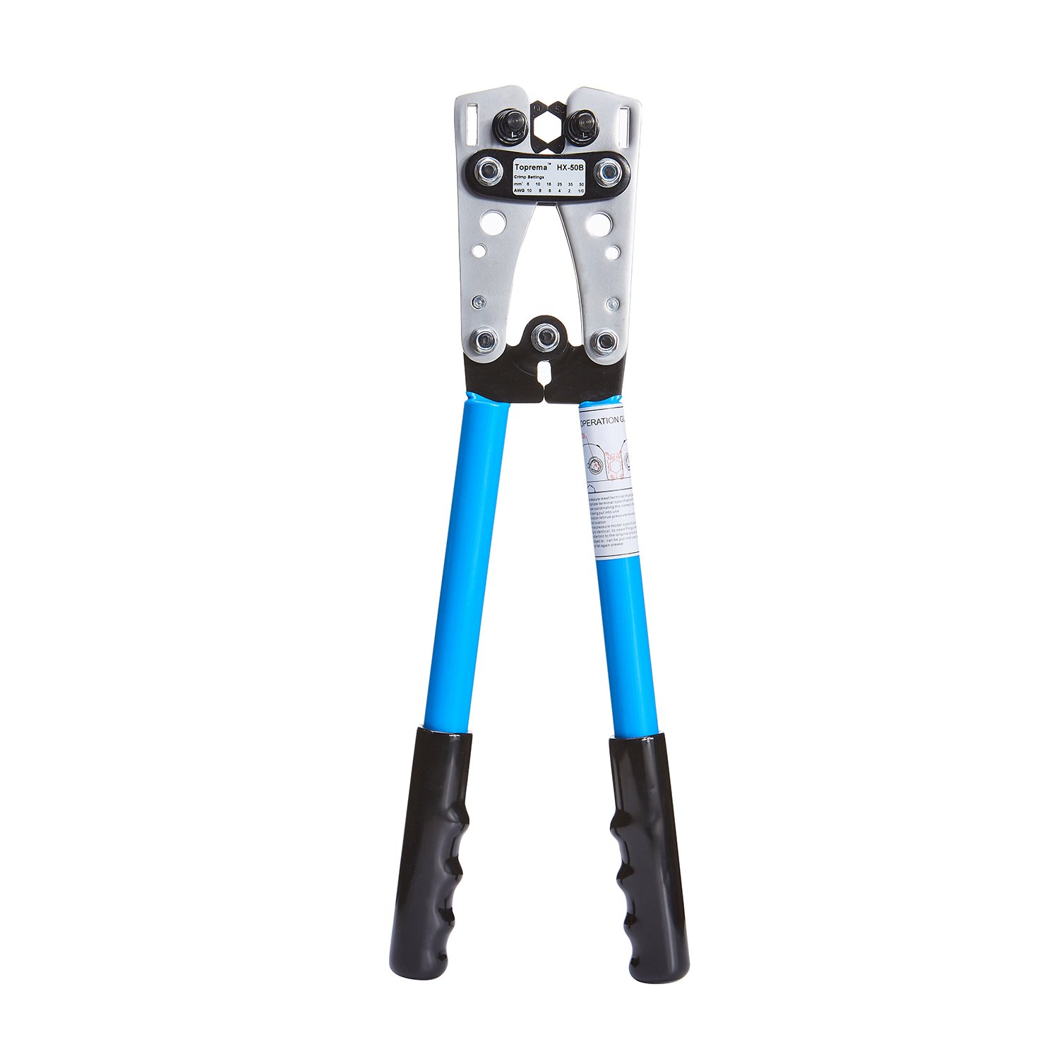 Toprema Wire Terminal Crimping Tool Cable Lug Crimper Electrician Connector Hand Plier (10, 8, 6, 4, 2, 1/0 AWG Settings)
