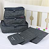 6 Set Packing Cubes, Multi-functional Underwear Outerwear Shoes Compression Travel Luggage Organizer Storage Bag Carrier Pouches (Navy Blue Stars)