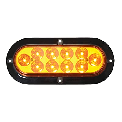 Grand General 76870 LED Light (Mega 10 Plus Oval Amber/Amber with Black Flange and 3 Wires), 1 Pack: Automotive