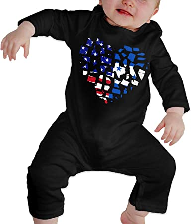 Mri-le1 Toddler Baby Boy Girl Bodysuits Dog Heart Kid Pajamas