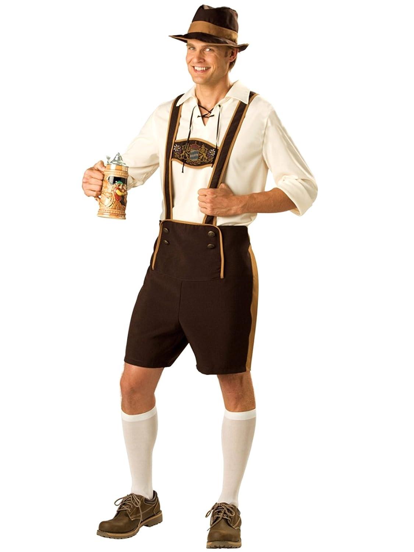 Herren Trachtenshirt Oktoberfest Kurz Hose Kostüme mit Hut Braun