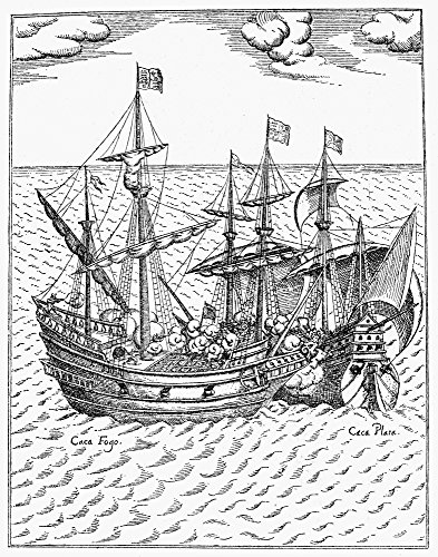 Drake Golden Hind 1579 Nsir Francis DrakeS Ship Golden Hind In Combat With The Spanish Treasure Ship Cacafuego (Left) Off The South American Coast 1579 Contemporary Line Engraving Poster Print by (24