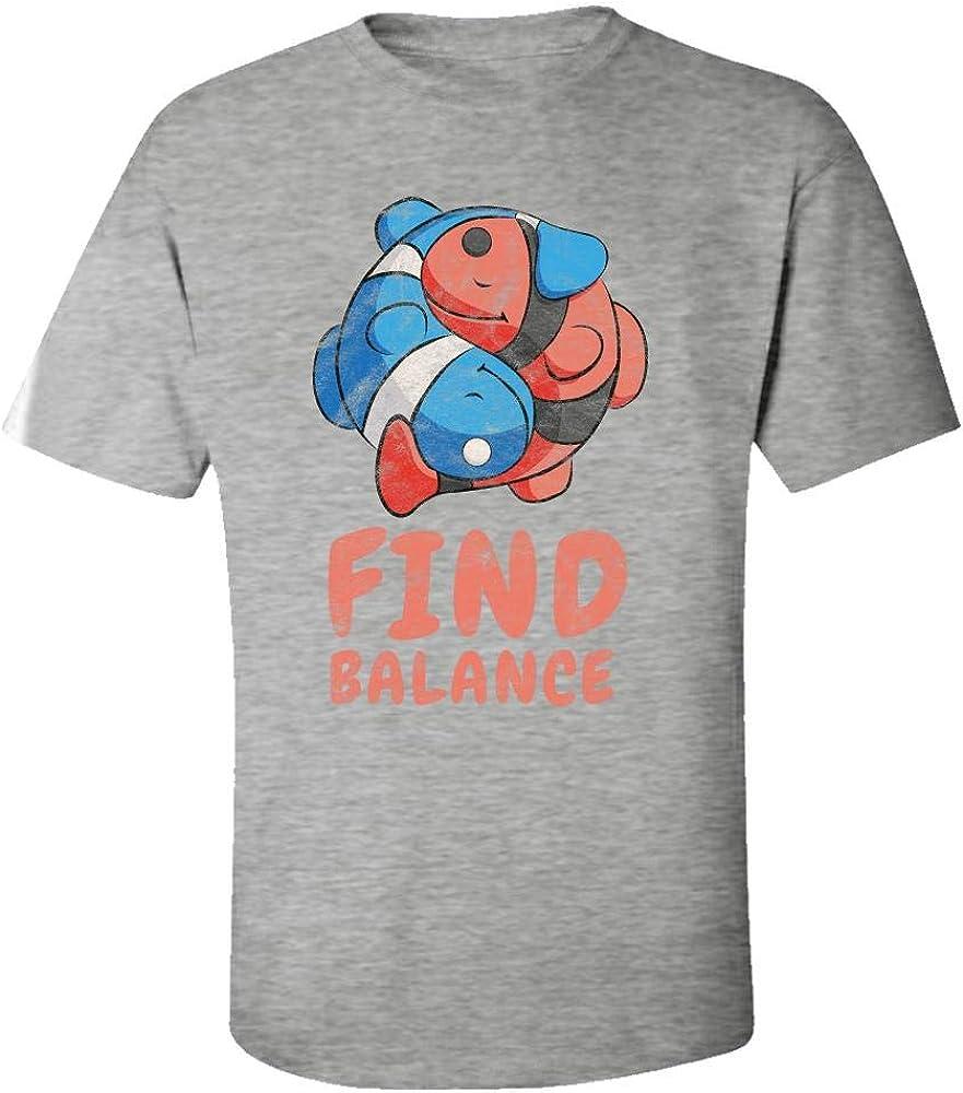 Yin and Yang Pisces Fish Mens Short Sleeve T-Shirt Print Tees Tops