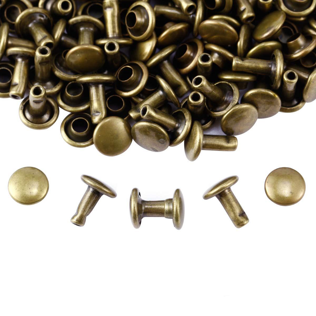 Anladia 300pcs Antique Brass Double Round Cap Tubular Rapid Rivet Stud for Leather Belt 6mm