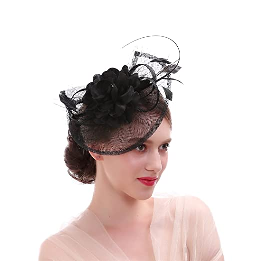 8063f9205fb Sinamay Feather Fascinator Headband Flower Derby Hat for Women (Black)