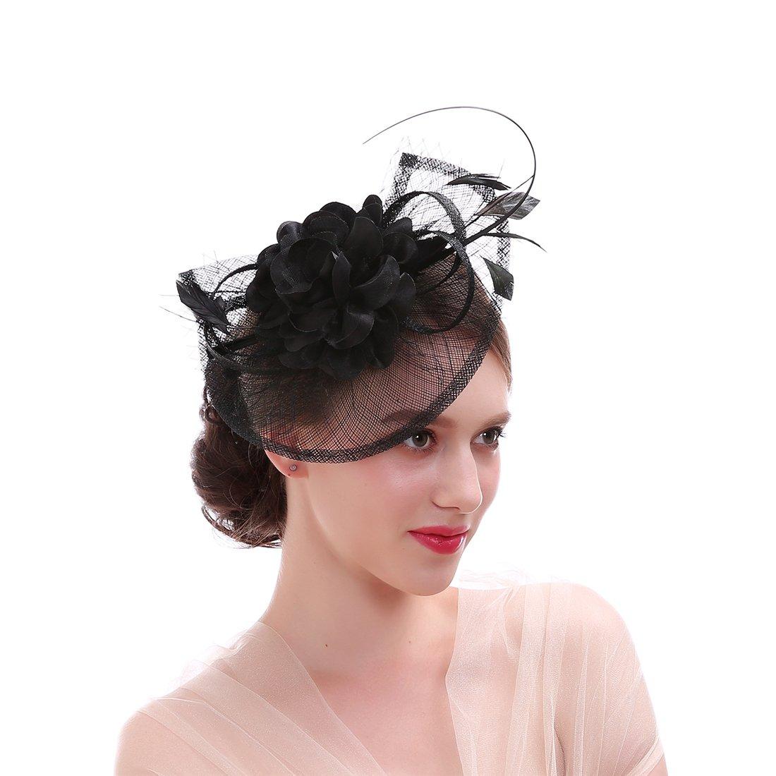 FIRYIN Sinamay Feather Fascinator Headband Flower Derby Hat For Women (Black)