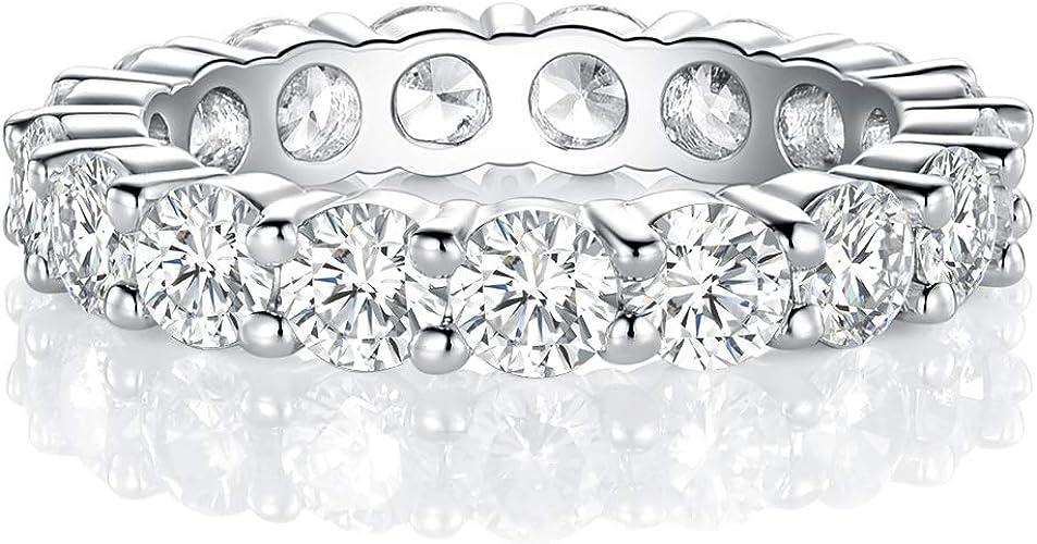18k White Gold Finish Diamond Eternity Band Engagment Ring Wedding Band 5