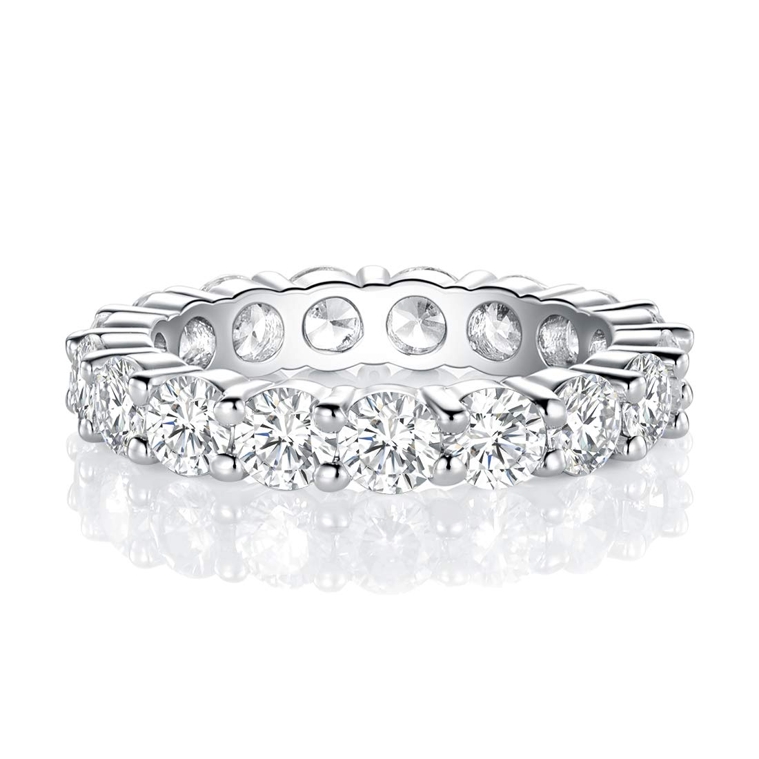 Wedding Band Ring for Women MDFUN 18K White Gold Plated 4.0 Round Cubic Zirconia Eternity Engagement