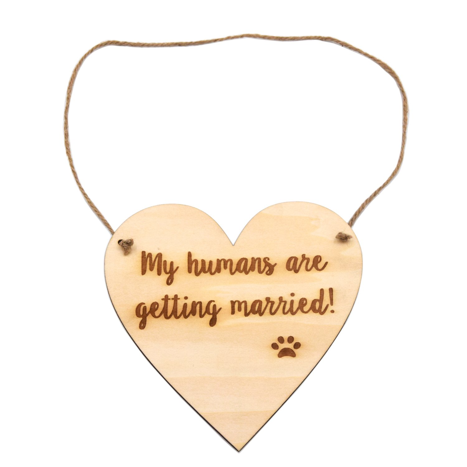 LParkin Engagement Photo Prop Dog Sign - My Humans Are Getting Married White