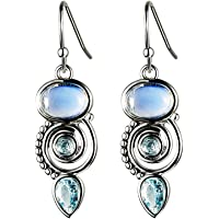 Junxin Vintage Drop Dangle Earrings for Women Girls, Trendy Teardrop Moonstone Earrings, Silver Dainty Dangling Fashion Jewelry Birthday Gift with Gift Box
